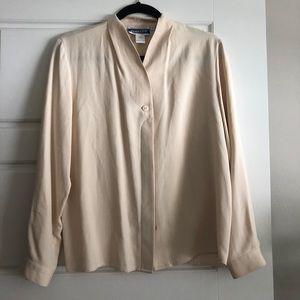 Cream 100% silk vintage blouse